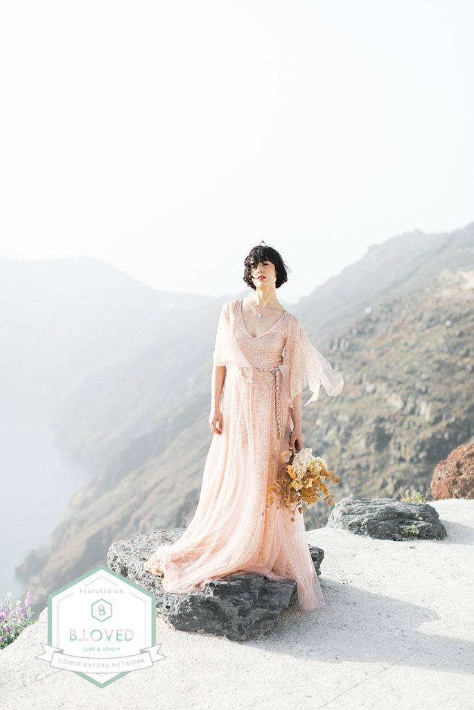 PEACH HUES + MODERN VIBES FOR THIS SANTORINI WEDDING