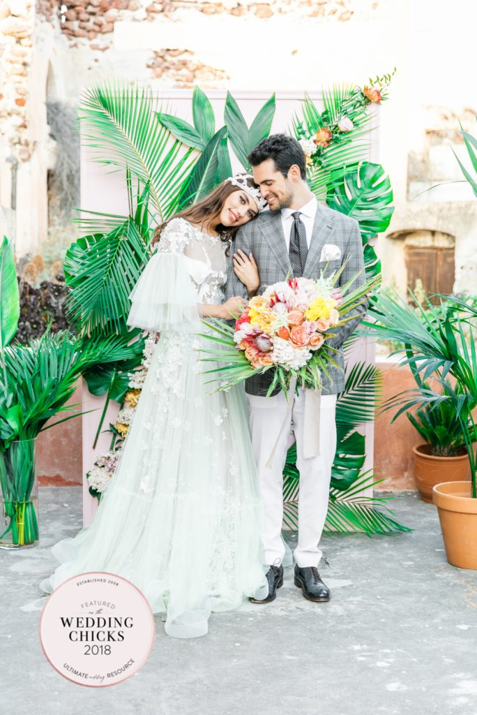 Dreamy Tropical Bohemian Wedding Inspiration from Santorini